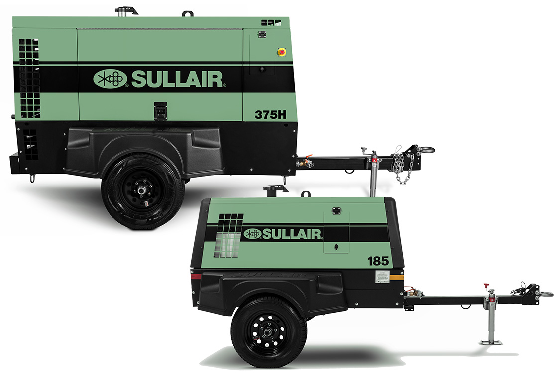 Sullair 185 T4F and 375 T4F portable air compressors